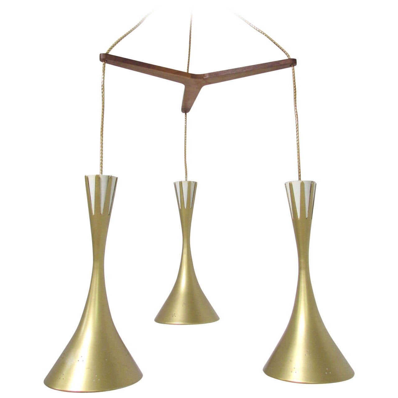 Mid-Century Tri-Cone Pendant Light In The Manner Of Paavo