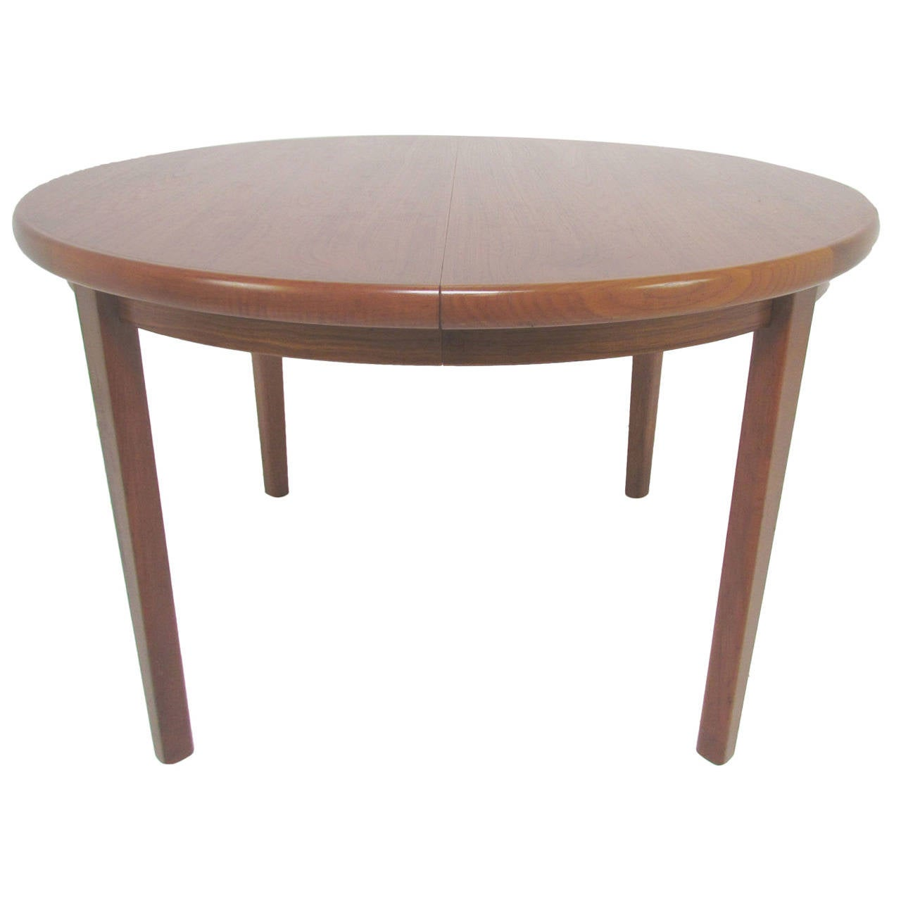 Danish teak round expandable dining table by rasmus at 1stdibs for Expandable dining table