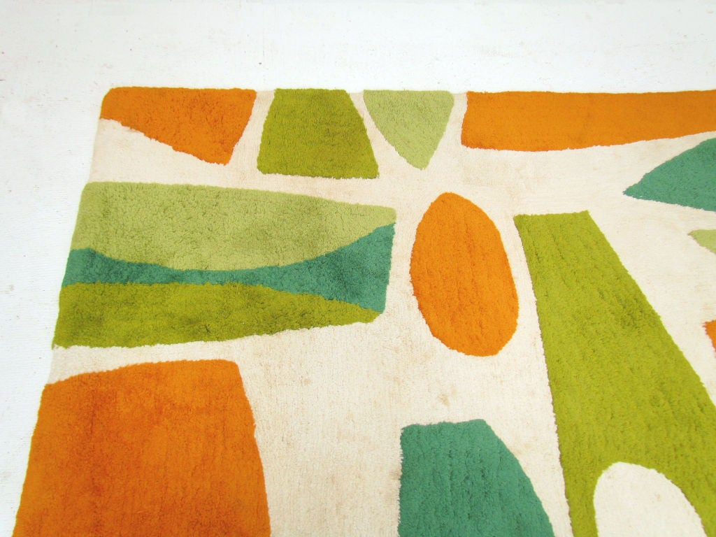 Mid Century Modern Abstract Area Rug Ca.1960s 3
