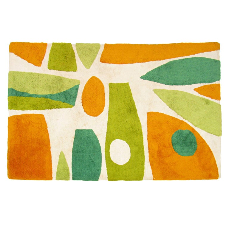 Mid-Century Modern Abstract Area Rug ca.1960s at 1stdibs
