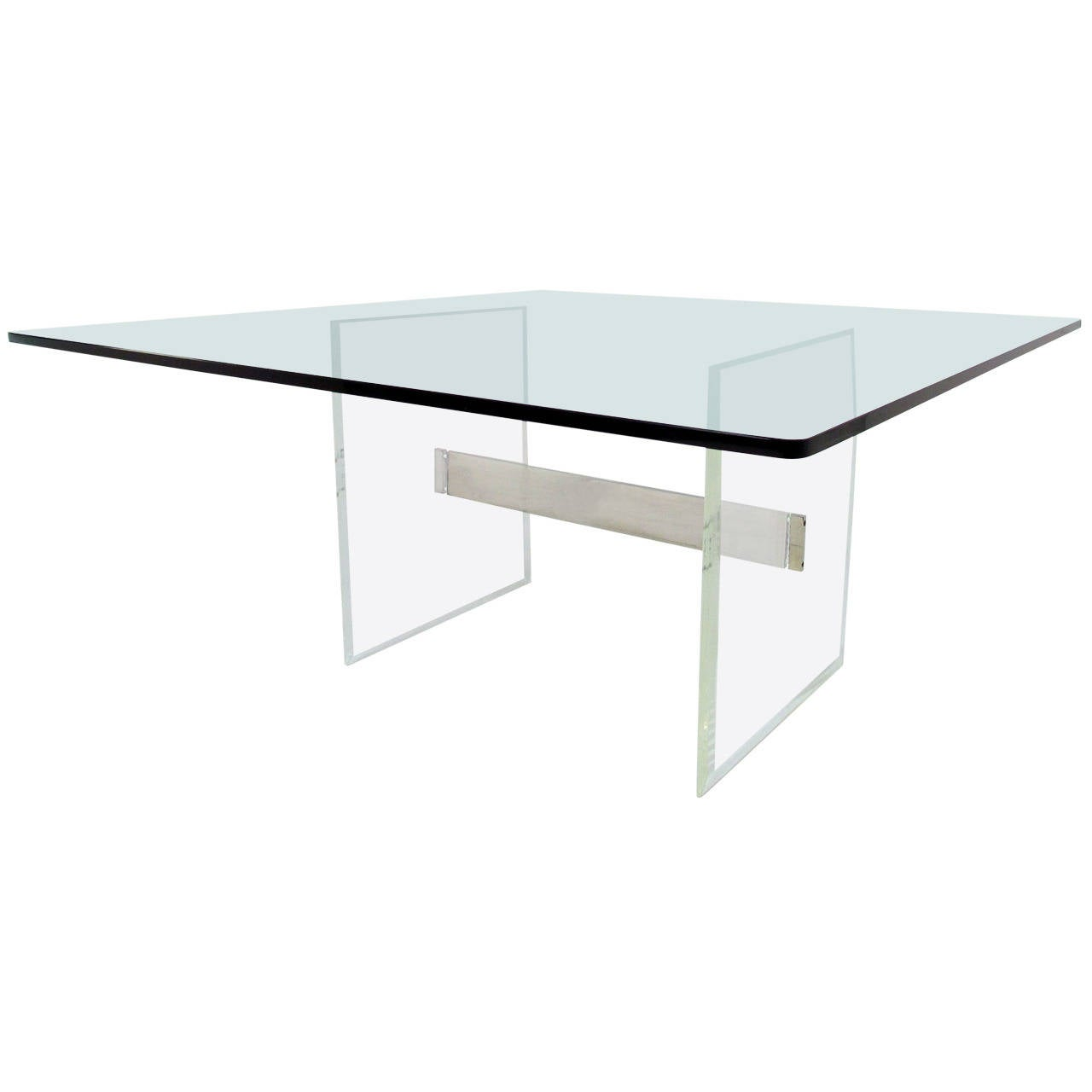 Lucite and aluminum i beam dining table with square glass for Square glass dining table