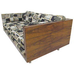 Rosewood Cased Tuxedo Two-Seat Sofa by Milo Baughman