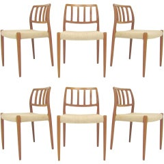 Set/6 Danish Teak Dining Chairs by Niels Moller for JL Moller