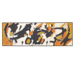 Panoramic Abstract Expressionist Painting in the Manner of Franz Kline ca. 1960s