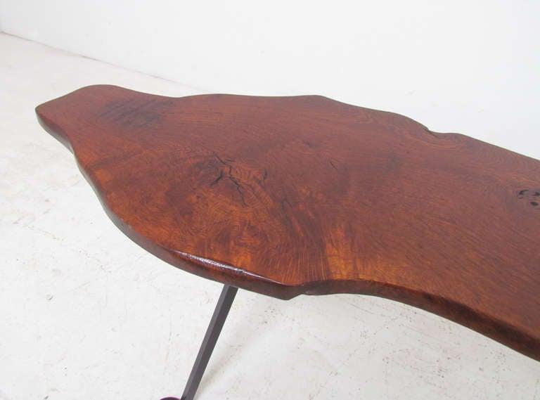 Mid century free edge burl wood studio bench or coffee