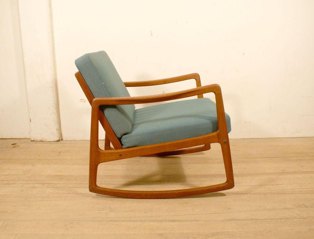Danish Teak Rocking Chair by Ole Wanscher at 1stdibs