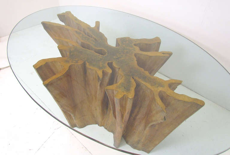 Michael Taylor Cyprus Tree Trunk Dining Table at 1stdibs : bakertreetab2withglassl from 1stdibs.com size 768 x 518 jpeg 30kB