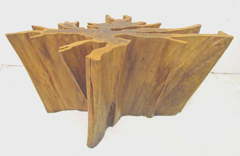 Michael taylor cyprus tree trunk dining table at 1stdibs for Tree trunk dining table