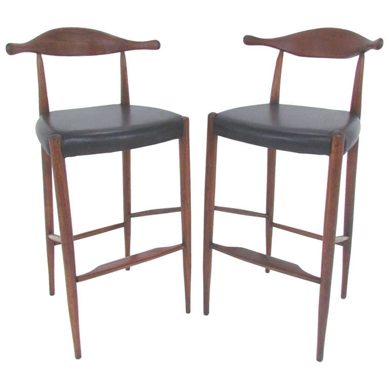 Pair Of Danish Teak And Leather Cowhorn Bar Stools After