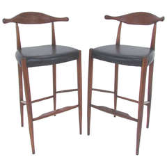Pair of Danish Teak and Leather Cowhorn Bar Stools After Hans Wegner