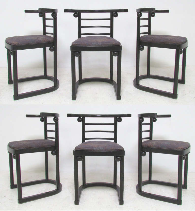 Set Of Six Fledermaus Cafe Dining Chairs By Josef Hoffmann