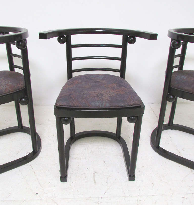 Bon Vienna Secession Set Of Six Fledermaus Cafe Dining Chairs By Josef Hoffmann  For Sale
