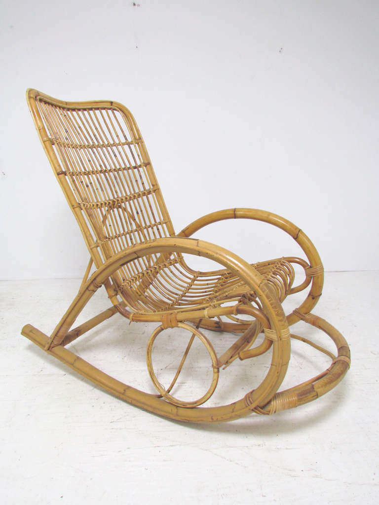 Bamboo rocking chair - Italian Bent Bamboo Rocker In Manner Of Franco Albini 2