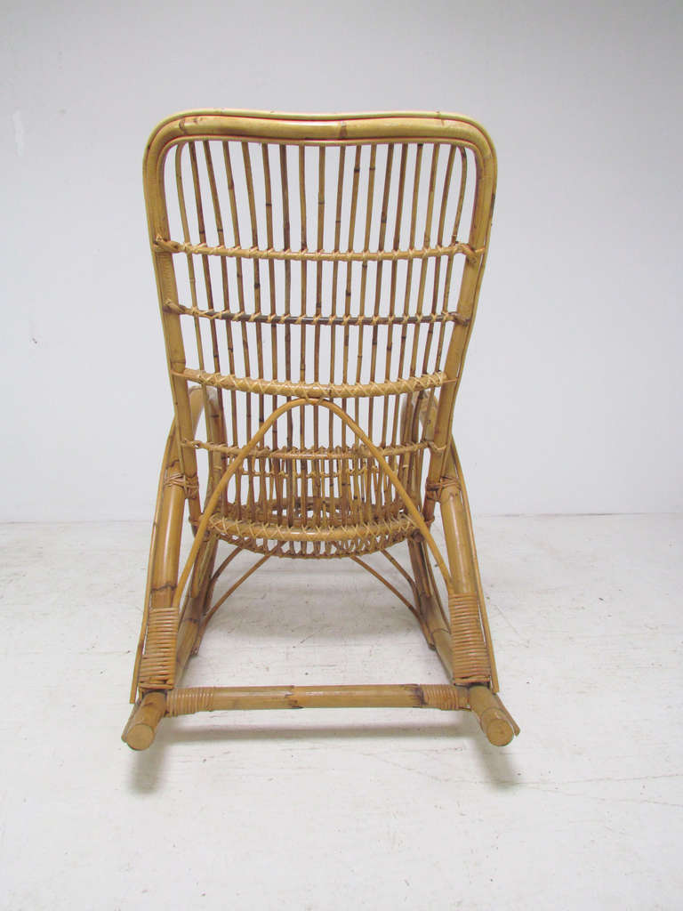 Italian bent bamboo rocker in manner of franco albini for for Bent bamboo furniture