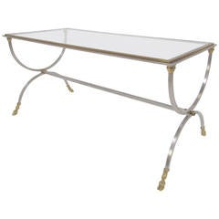Hollywood Regency Coffee Table in Brass and Steel in the Style of Maison Jansen
