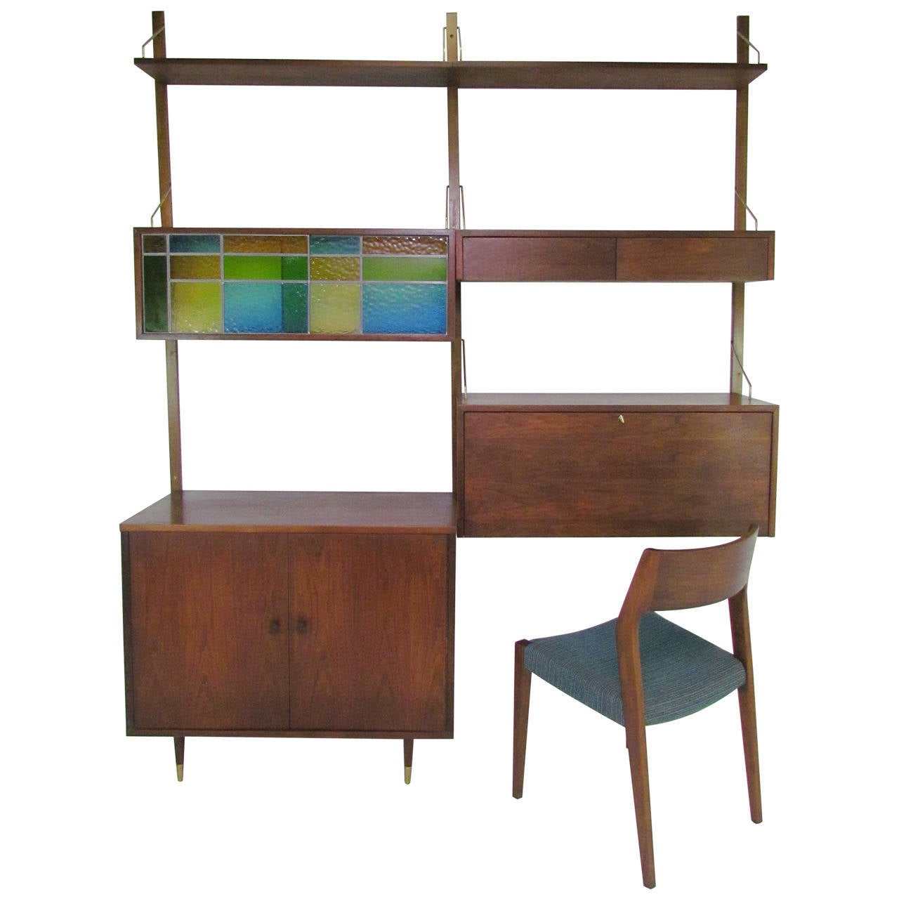 Danish Teak Wall Mounted Shelving Unit In The Manner Of