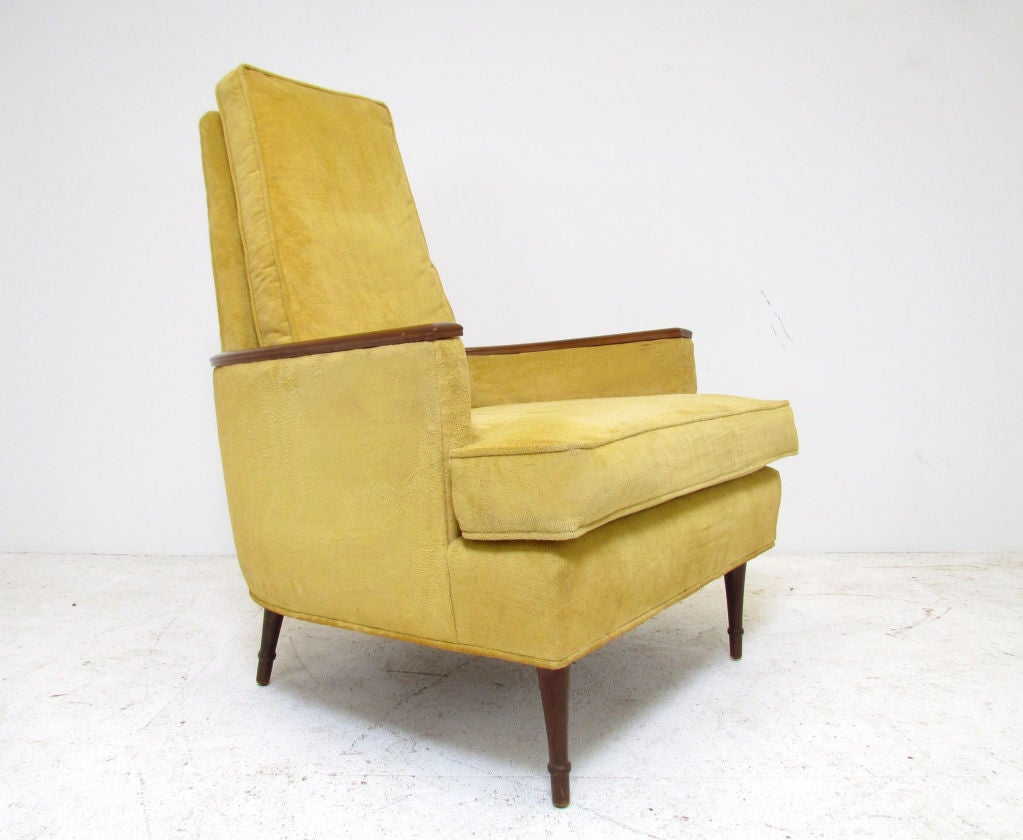 Pair Of Mid Century High Back Lounge Chairs Ca 1960s At 1stdibs