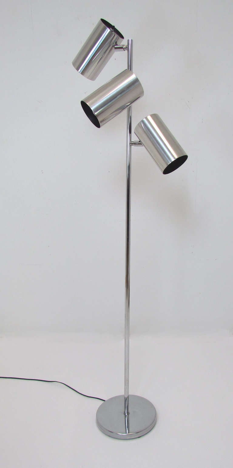 Koch And Lowy Chrome Adjustable Three Shade Floor Lamp At