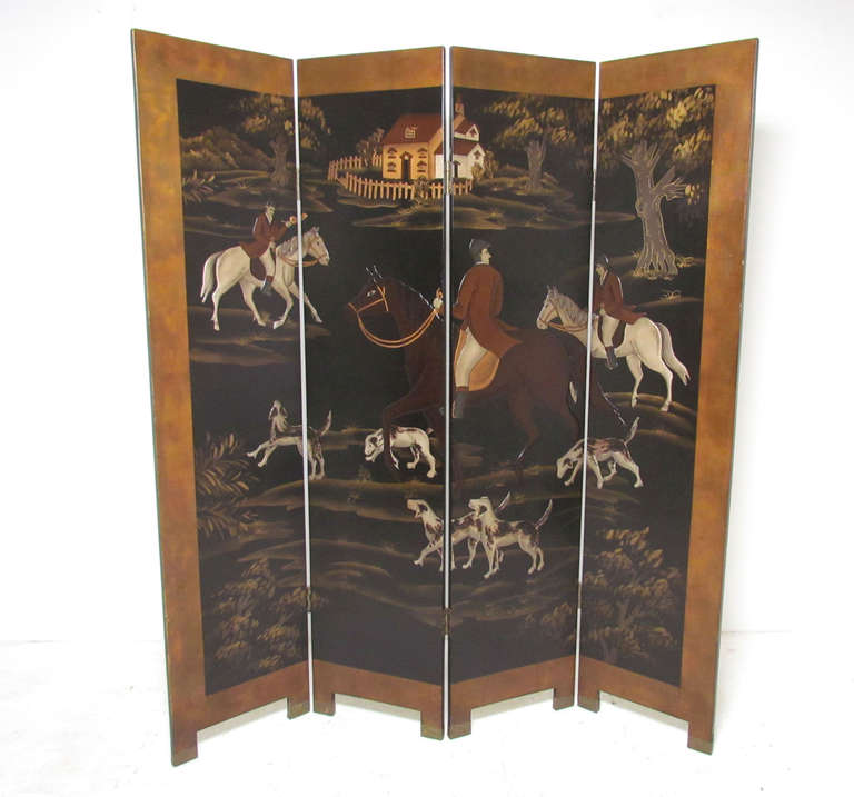 Four Panel Screen Room Divider with Fox Hunt & Horses Motif 2