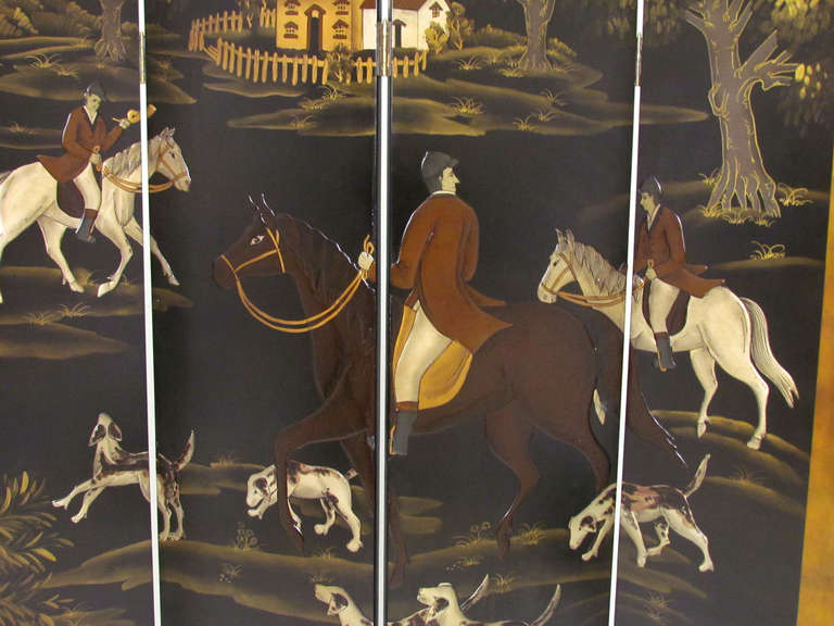 Four Panel Screen Room Divider with Fox Hunt & Horses Motif 3