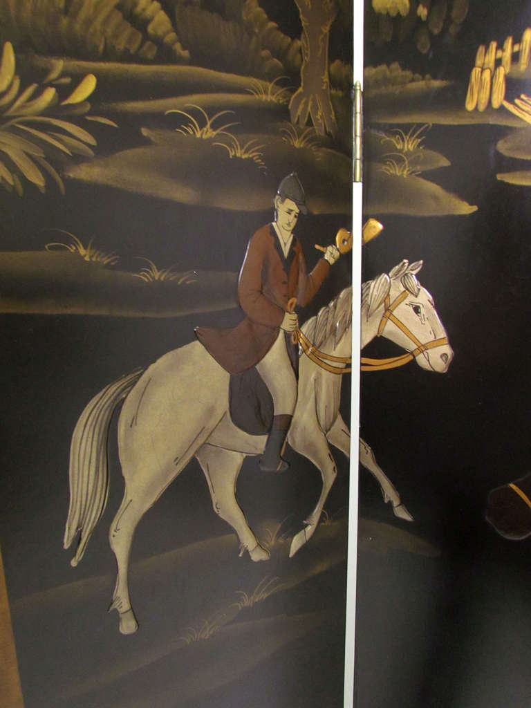 Four Panel Screen Room Divider with Fox Hunt & Horses Motif 4