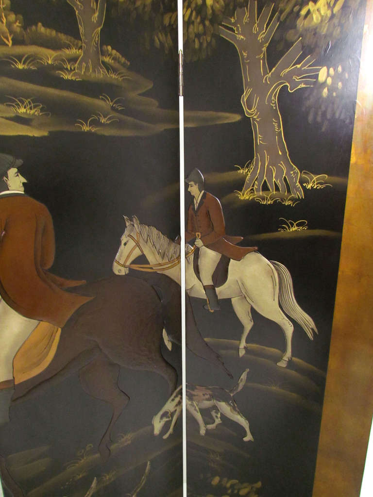 Four Panel Screen Room Divider with Fox Hunt & Horses Motif 5