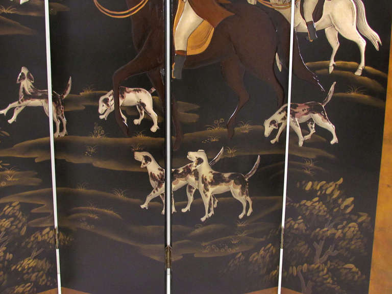 Four Panel Screen Room Divider with Fox Hunt & Horses Motif 6