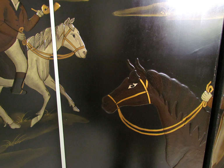 Four Panel Screen Room Divider with Fox Hunt & Horses Motif 7