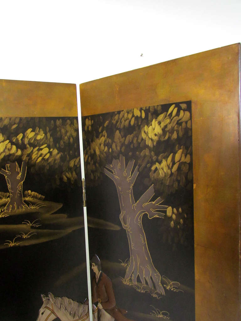 Four Panel Screen Room Divider with Fox Hunt & Horses Motif 8