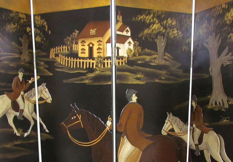 Four Panel Screen Room Divider with Fox Hunt & Horses Motif 9