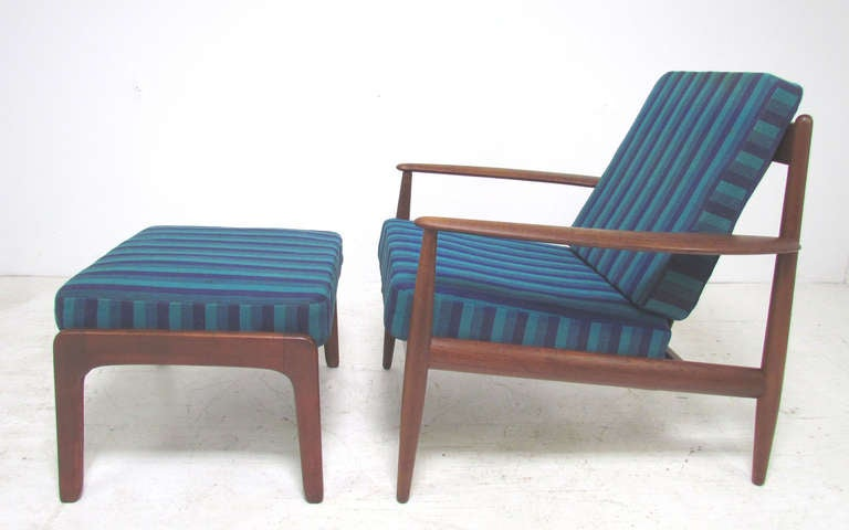 Classic early Danish teak lounge chair by Grete Jalk for France & Daverkosen, ca. 1950s.  As found, with ottoman by Ole Wanscher for France & Daverkosen, ca. 1950s, both in original Danish wool