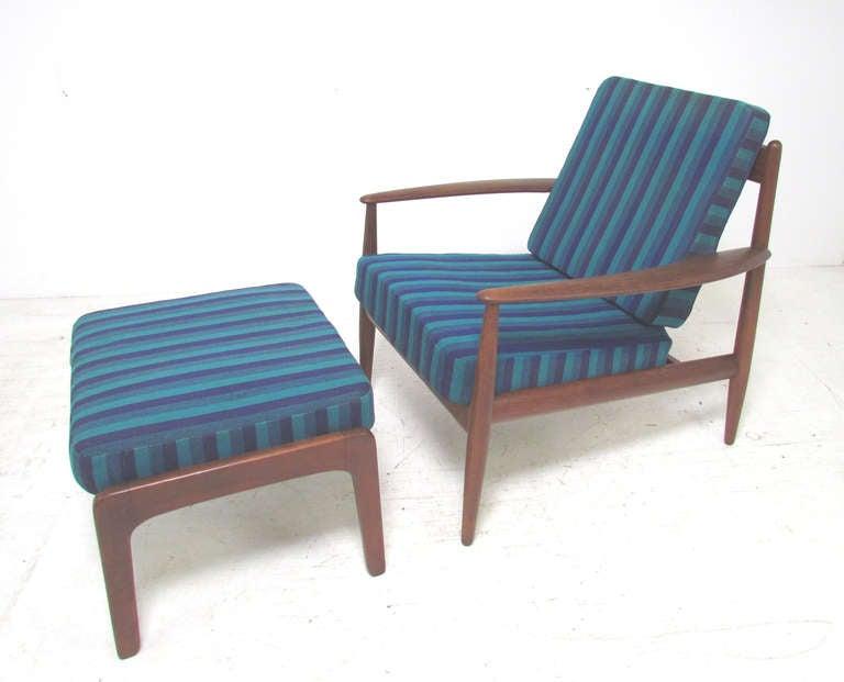 Scandinavian Modern Danish Teak Lounge Chair by Grete Jalk with Ottoman for France & Daverkosen