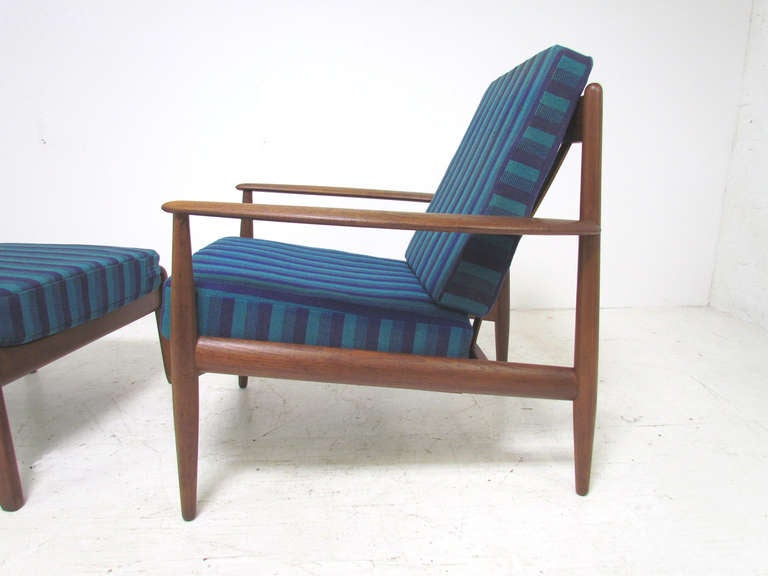 Danish Teak Lounge Chair by Grete Jalk with Ottoman for France & Daverkosen In Good Condition In Peabody, MA