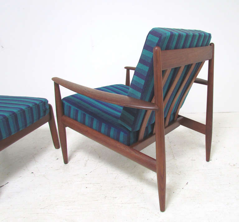 Mid-20th Century Danish Teak Lounge Chair by Grete Jalk with Ottoman for France & Daverkosen