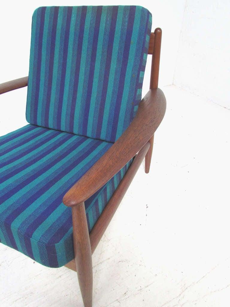 Upholstery Danish Teak Lounge Chair by Grete Jalk with Ottoman for France & Daverkosen