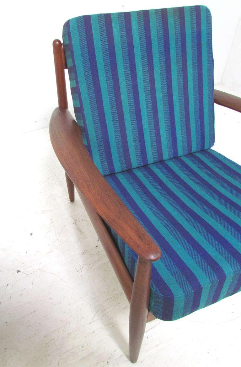 Danish Teak Lounge Chair by Grete Jalk with Ottoman for France & Daverkosen 1