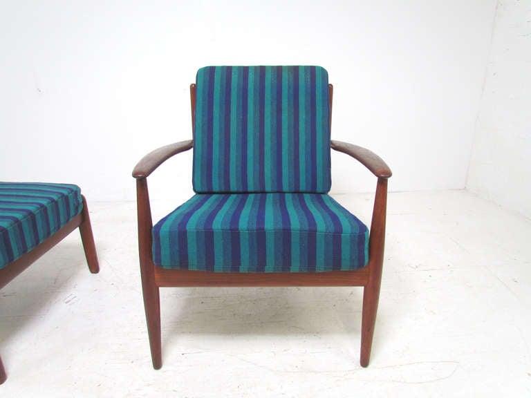 Danish Teak Lounge Chair by Grete Jalk with Ottoman for France & Daverkosen 2