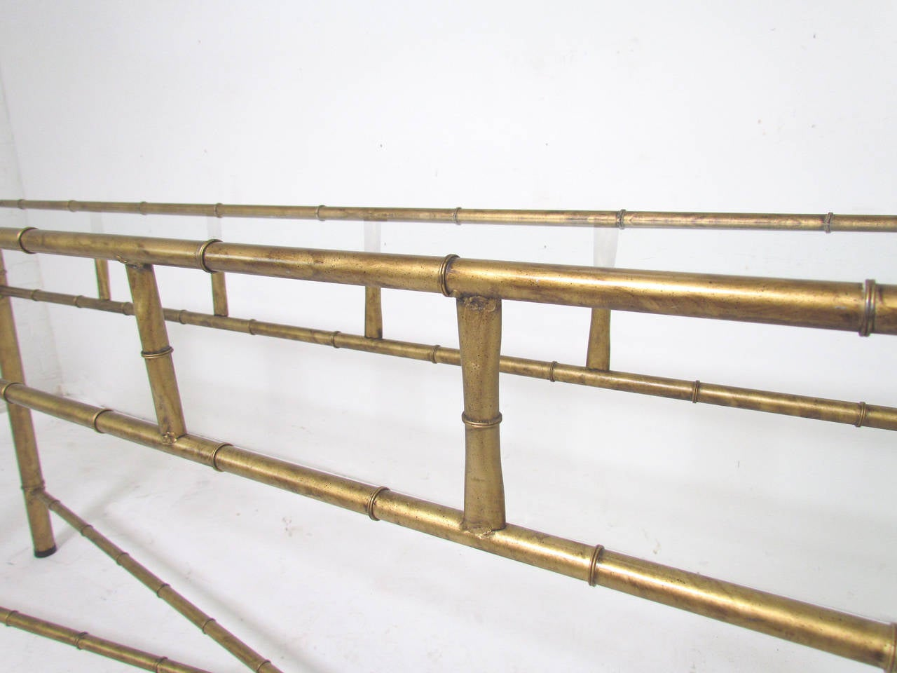 Classic Sofa Console Table In Faux Bamboo Gilt Metal