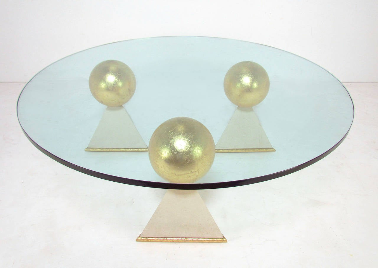 Unusual Custom Gold Leaf And Glass Coffee Table From Trump Maples Estate At 1stdibs