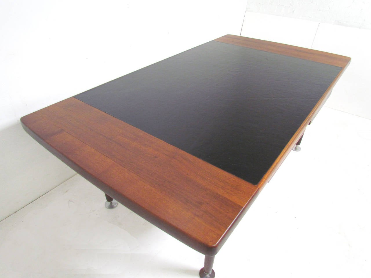 Custom executive desks - Custom Executive Desk In Leather And Walnut In The Manner Of Jens Risom 3