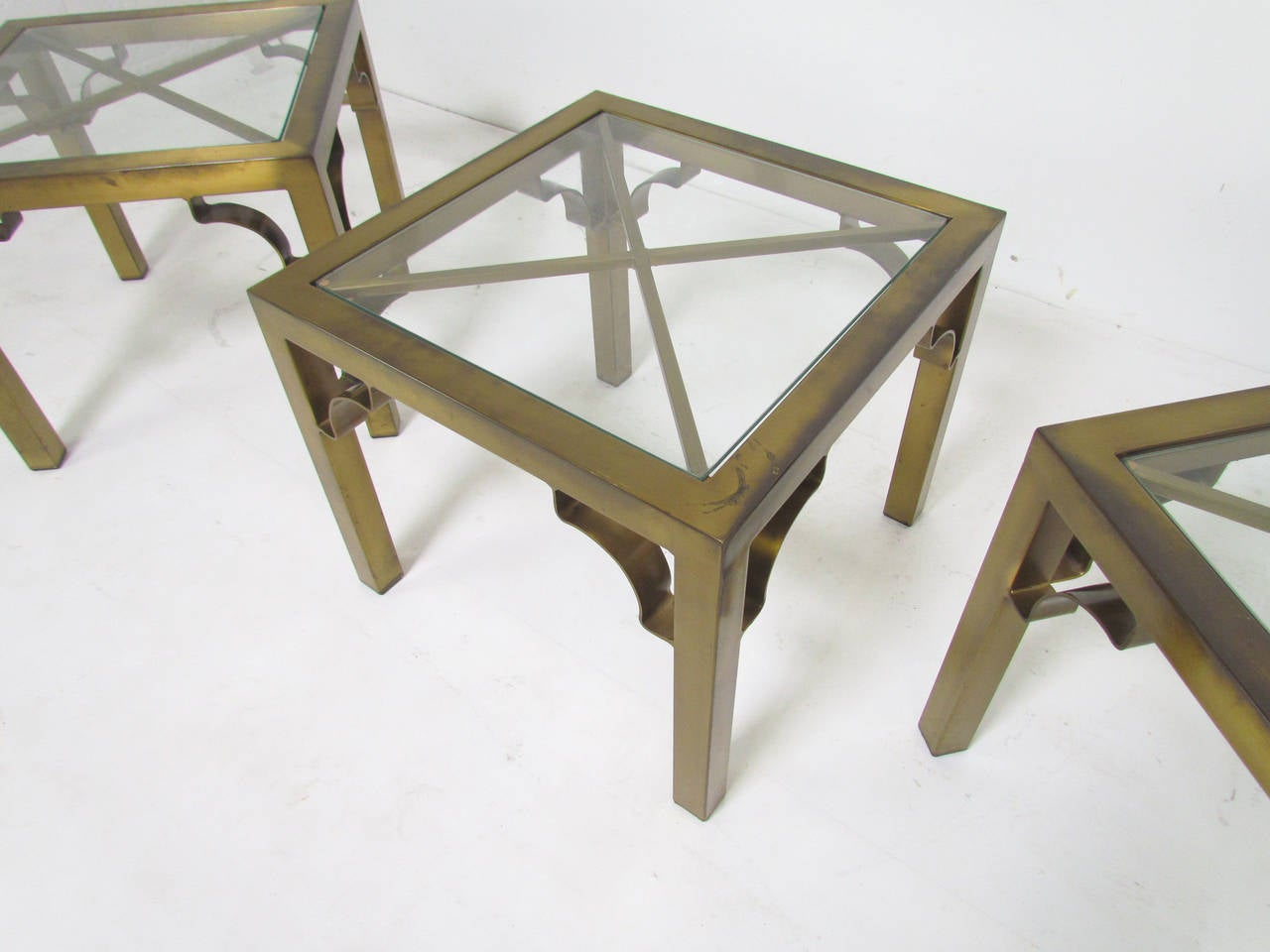 Set Of 3 Glass Tables: Set Of Three Mastercraft Side Tables Or Coffee Table In