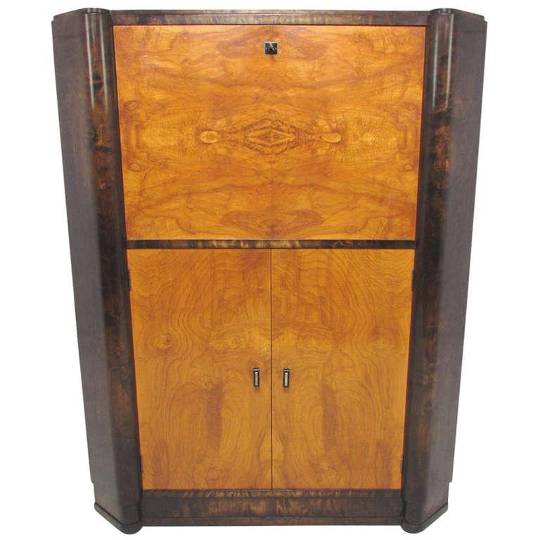 French Art Deco Burl Wood Lighted Bar Corner Cabinet At
