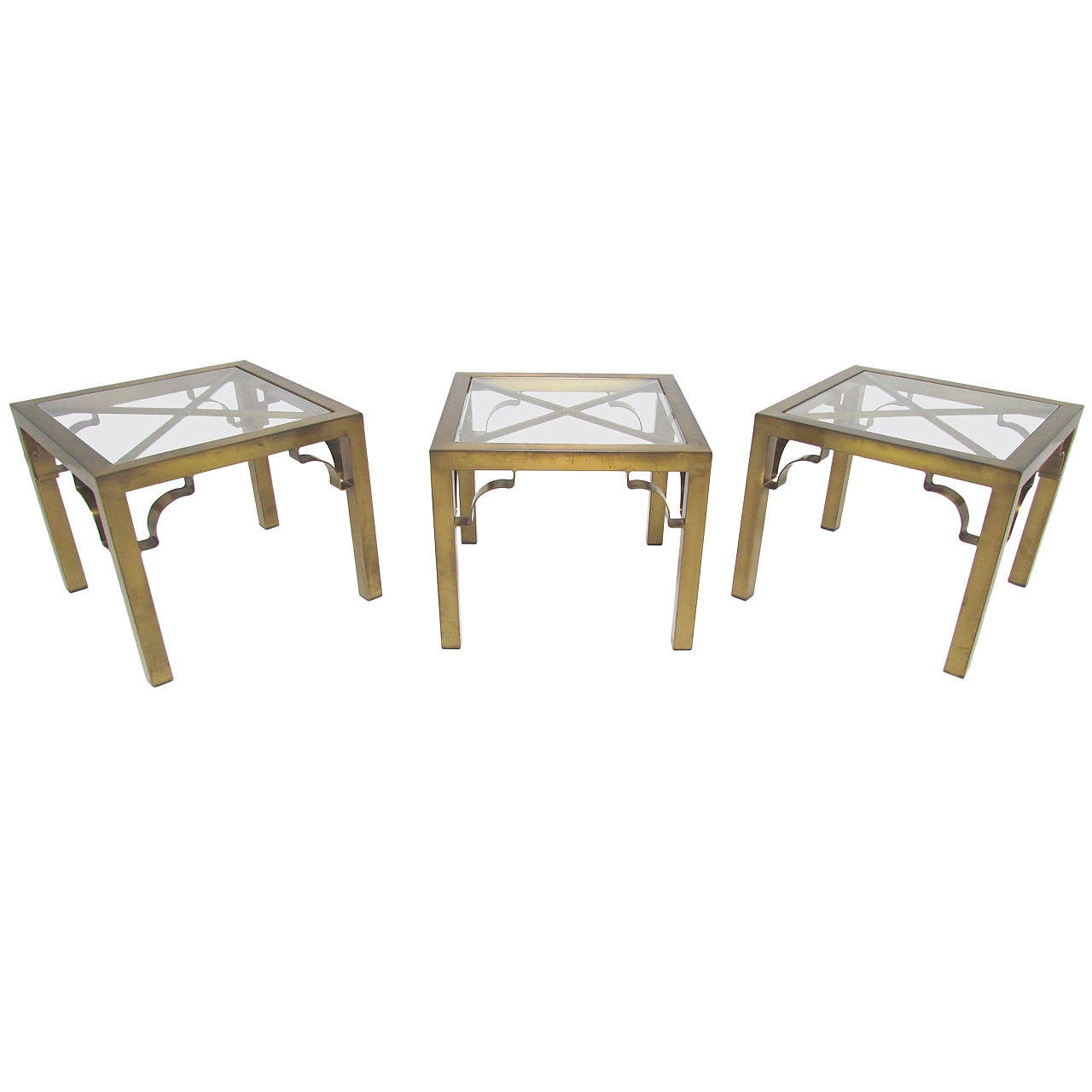 Set of three mastercraft side tables or coffee table in brass and glass at 1stdibs Glass coffee and end tables