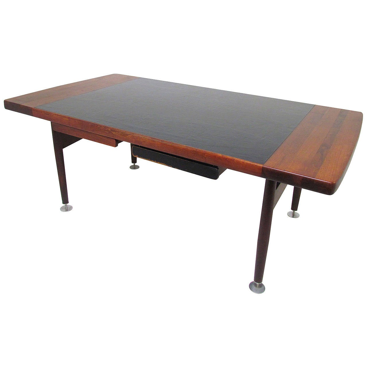 Custom executive desks - Custom Executive Desk In Leather And Walnut In The Manner Of Jens Risom 1