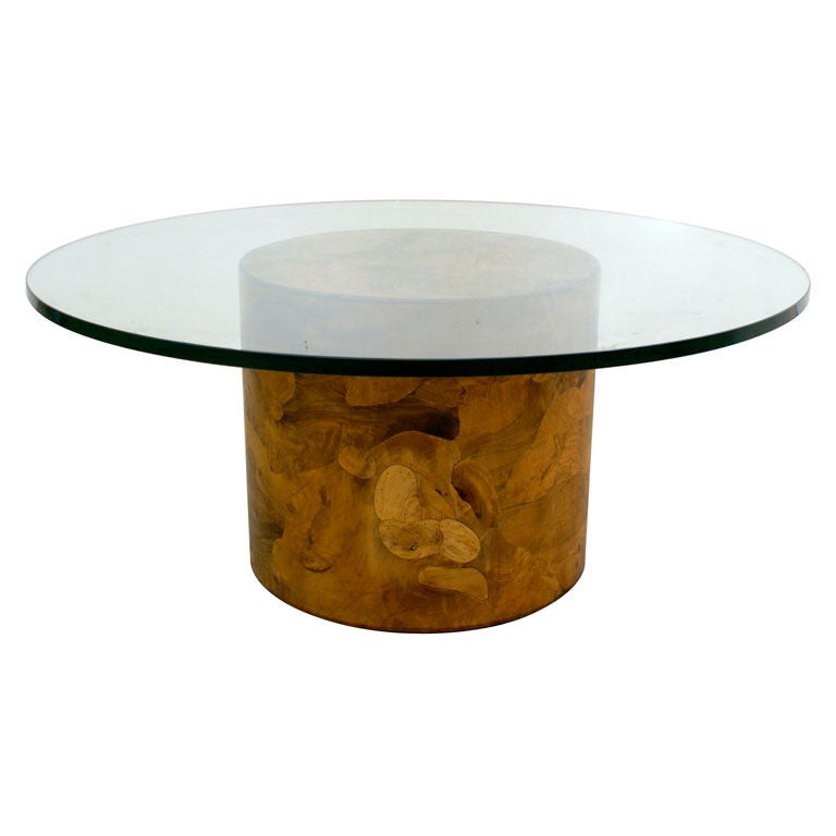 Italian Burl Wood Pedestal Coffee Table Ca 1970s At 1stdibs