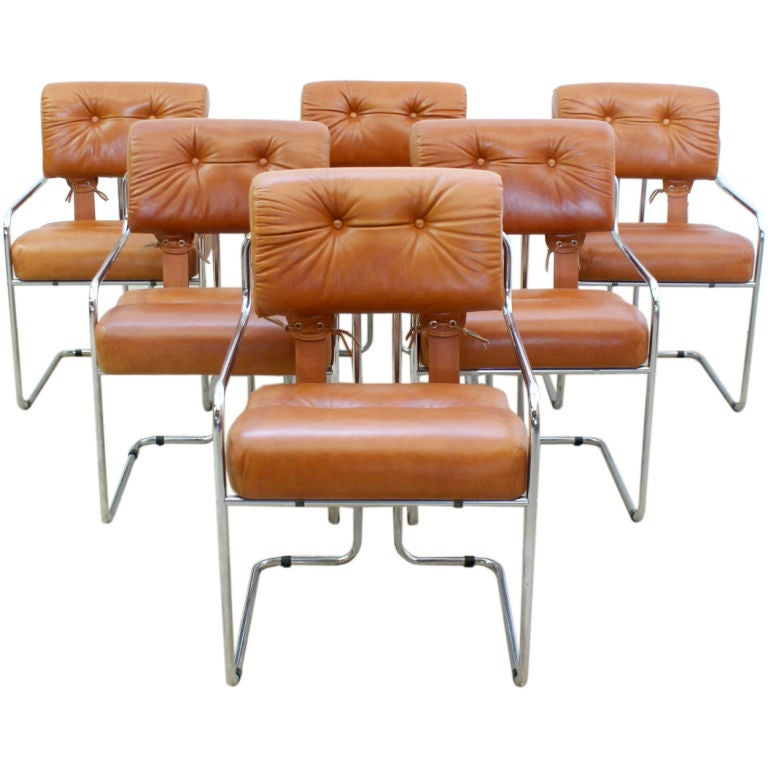 Set Of Six Italian Leather And Chrome Dining Chairs By