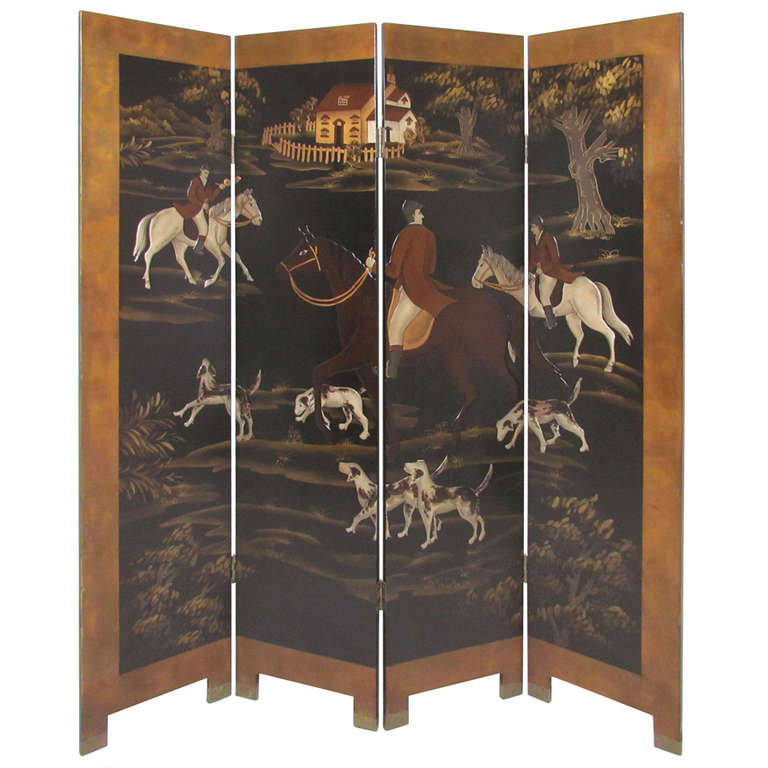 Four panel screen room divider with fox hunt and horses for Four panel room divider screen