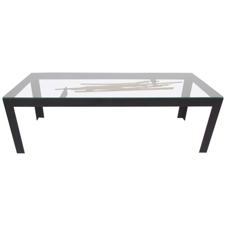Brutalist studio coffee table with sculptural center for Center table coffee table