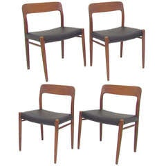 Set of Four Danish Teak & Leather Dining Chairs by Niels Moller