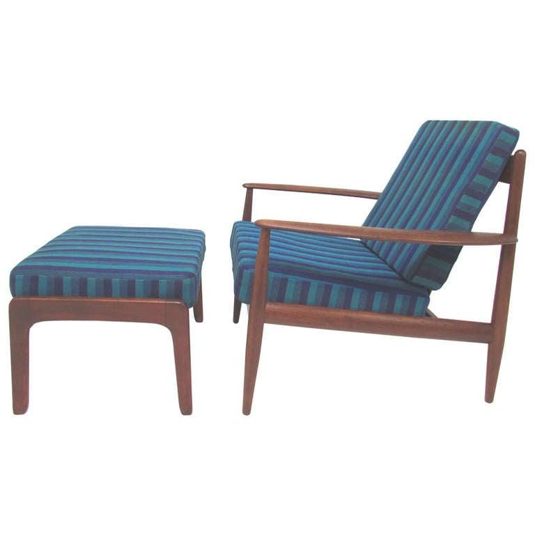 Danish Teak Lounge Chair by Grete Jalk with Ottoman for France & Daverkosen